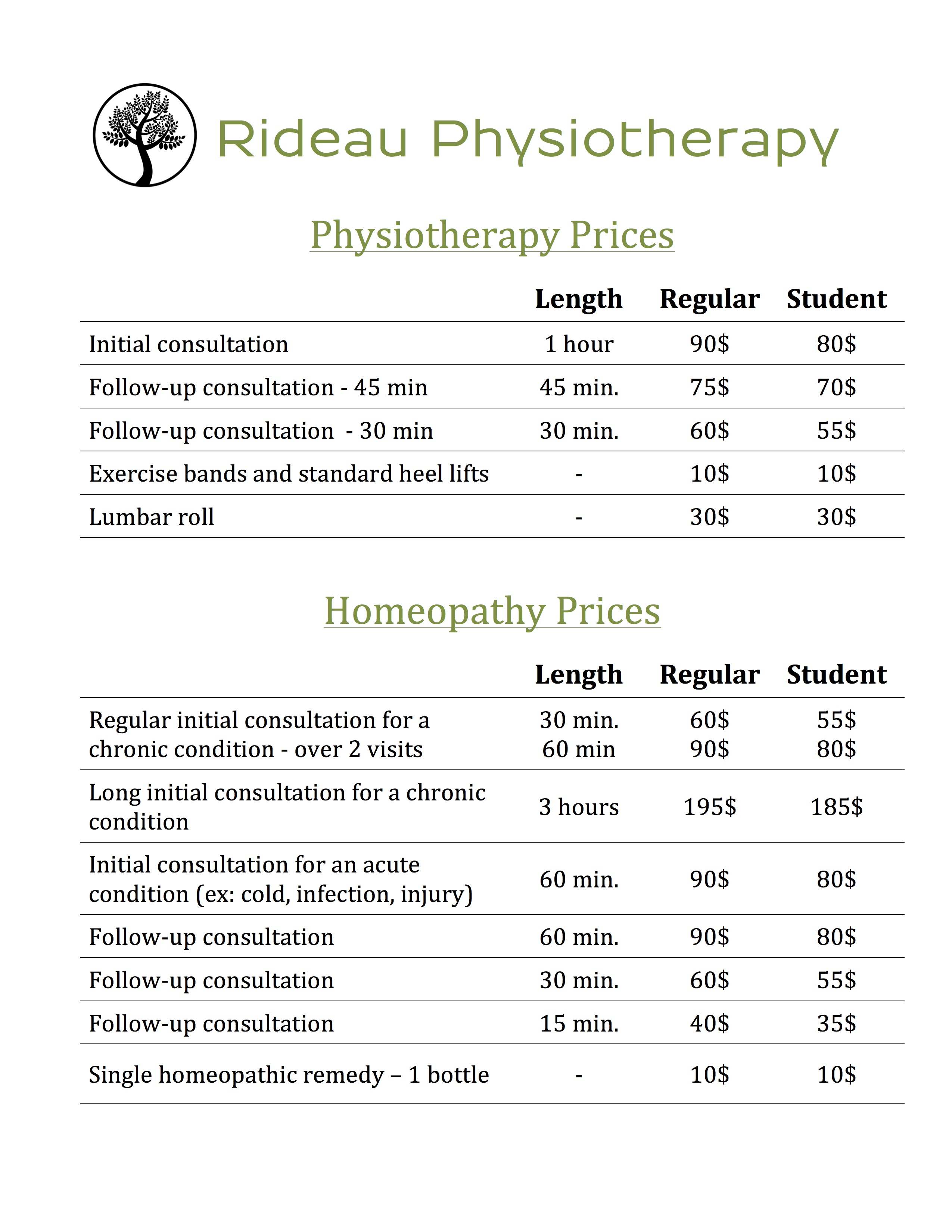 Fee Schedule - Rideau Physiotherapy JAN 2018